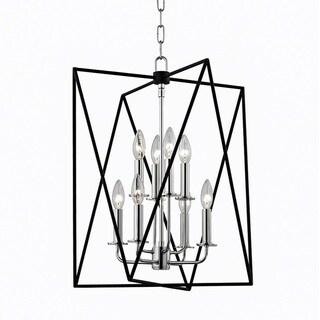 Hudson Valley Laszlo 8-Light Black and Polished Nickel Pendant