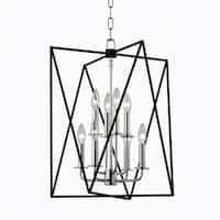 Hudson Valley Laszlo 8-Light Black and Polished Nickel Pendant
