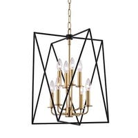 Hudson Valley Laszlo 8-Light Black and Aged Brass Pendant
