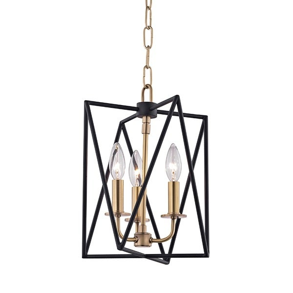 Hudson Valley Laszlo 3-Light Black and Aged Brass Pendant
