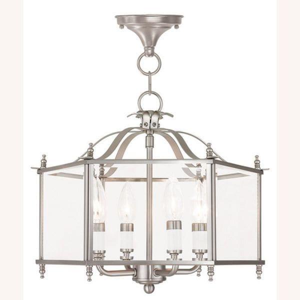 Livex Lighting Livingston 4 Light Brushed Nickel Convertible Chain Hang/Ceiling Mount