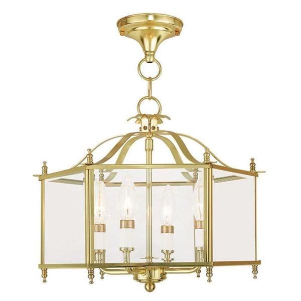 Livex Lighting Livingston 4 Light Polished Brass Convertible Chain Hang/Ceiling Mount