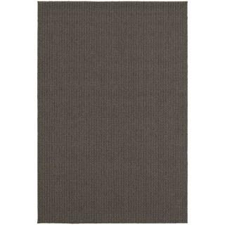 Solid Textured Loop Pile Charcoal/ Grey Indoor/Outdoor Rug (6' 7 x 9' 6)