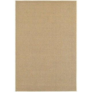 Solid Textured Stripe Loop Pile Sand/ Tan Indoor/Outdoor Rug (5' 3 x 7' 6)
