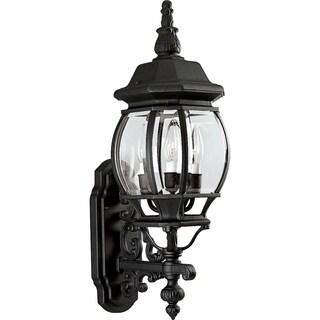 Progress Lighting P5700-31 Black-finish Aluminum Three-light Onion Wall Lantern