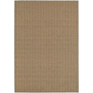 Woven Stripe Loop Pile Brown/ Sand Indoor/Outdoor Rug (5' 3 x 7' 6)