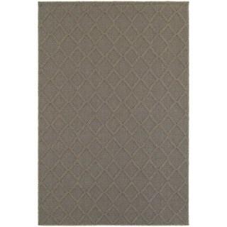 Textured Diamond Lattice Loop Pile Grey/ Grey Indoor/Outdoor Rug (6' 7 x 9' 6)