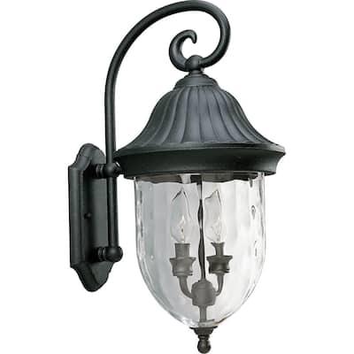 Hampton Bay 2 Light Textured Black Wall Lantern
