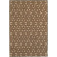 StyleHaven Lattice Brown/ Sand Indoor-Outdoor Area Rug - 6'7 x 9'6