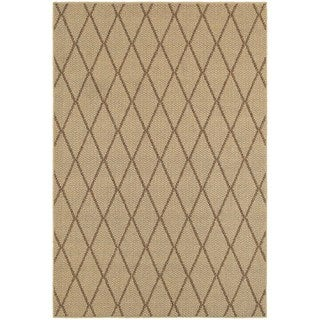 StyleHaven Lattice Beige/ Sand Indoor-Outdoor Area Rug (5'3x7'6)