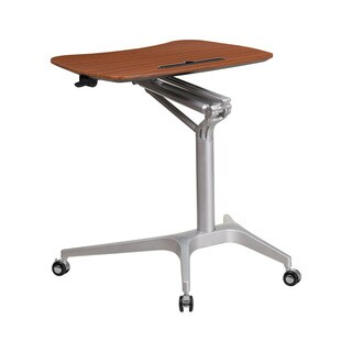Offex Mahogony Metal Contemporary Mobile Sit-Down Stand-Up Computer Desk