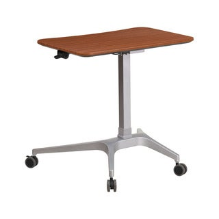Offex Contemporary Mahogany 28.25-inch Wide Top Mobile Sit-down Stand-up Computer Desk