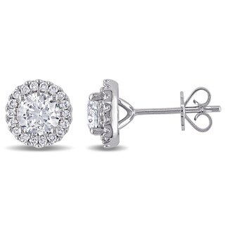 Miadora Signature Collection 14k White Gold 1-1/2ct TDW Diamond Halo Stud Earrings
