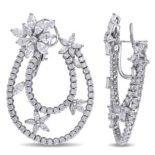 Miadora Signature Collection 18k White Gold 8-3/4ct TDW Marquise and Round Diamond Station Leverback Earrings (G-H, SI1-SI2)