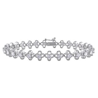 Miadora Signature Collection 14k White Gold 2ct TDW Diamond Quatrefoil Tennis Bracelet