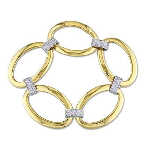 Miadora Signature Collection 18k Yellow Gold 1ct TDW Diamond Interlaced Bracelet
