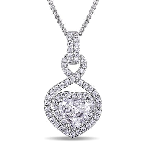 Miadora Signature Collection 14k White Gold 1 1/3ct TDW Round and Heart Diamond Halo Necklace