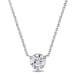 Miadora Signature Collection 14k White Gold 7/8ct TDW Certified Diamond Solitaire Necklace (GIA) (G-H, SI1-SI2)