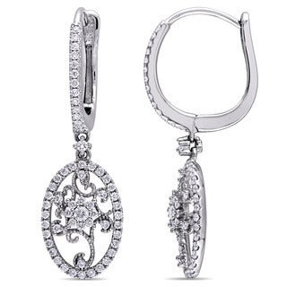 Miadora Signature Collection 14k White Gold 7/8ct TDW Diamond Filigree Halo Leverback Earrings