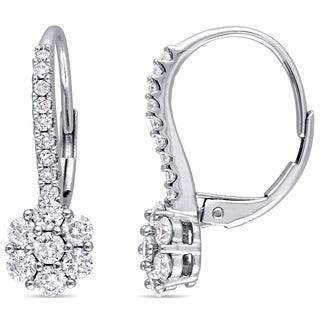 Miadora Signature Collection 14k White Gold 1ct TDW Diamond Cluster Flower Leverback Earrings (G-H, I1-I2)