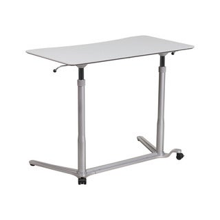 Offex Contemporary Light Grey Metal 37.5-inch Sit-Down Stand-Up Computer Desk
