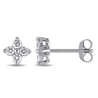Miadora Signature Collection 14k White Gold 3/8ct TDW Diamond Floral Stud Earrings