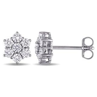 Miadora Signature Collection 14k White Gold 3/4ct TDW Diamond Snowflake Stud Earrings