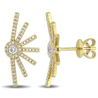 Miadora Signature Collection 14k Yellow Gold 3/8ct TDW Diamond Half Sun-Ray Stud Earrings (G-H, SI1-SI2)