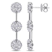 Miadora Signature Collection 14k White Gold 2/3ct TDW Diamond Three-Flower Drop Earrings