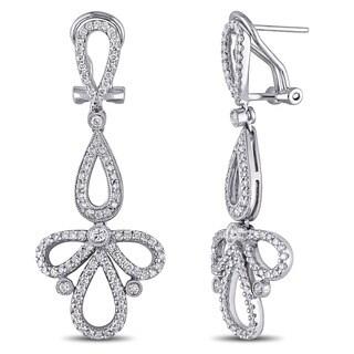 Miadora Signature Collection 18k White Gold 1-3/8ct TDW Diamond Bow Dangle Earrings