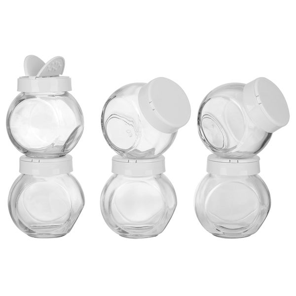 Euro-Ware 6-piece Clear Spice Glass Jars with Lids