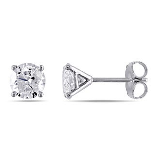 Miadora Signature Collection 14k White Gold 1-1/2ct TDW Diamond Solitaire Martini-Style Stud Earrings (K-L, I2-I3)