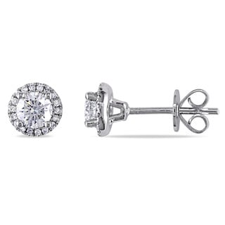 Miadora Signature Collection 18k White Gold 3/4ct TDW Diamond Halo Stud Earrings