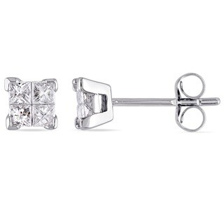 Miadora Signature Collection 10k White Gold 1/2ct TDW Princess-Cut Diamond Stud Earrings (G-H, I1-I2)