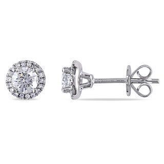 Miadora Signature Collection 14k White Gold 3/4ct TDW Diamond Halo Stud Earrings