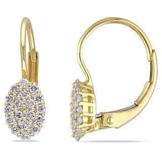 Miadora 14k Yellow Gold 1/3ct TDW Diamond Cluster Leverback Earrings (G-H, SI1-SI2)