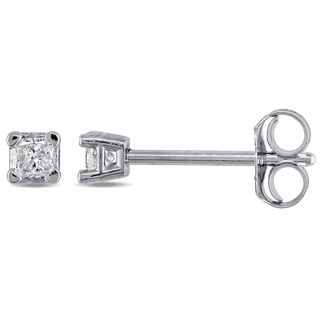 Miadora 10k White Gold 1/10ct TDW Princess-Cut Diamond Solitaire Stud Earrings