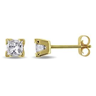 Miadora Signature Collection 14k Yellow Gold 1/2ct TDW Princess-Cut Diamond Stud Earrings