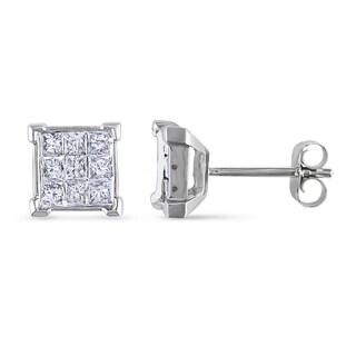 Miadora 10k White Gold 1/2ct TDW Princess-Cut Diamond Stud Earrings(G-H, I2-I3)