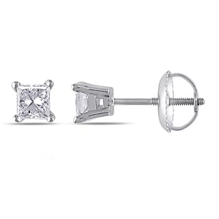 Miadora Signature Collection 14k White Gold 1/2ct TDW Princess-Cut Diamond Solitaire Stud Earrings