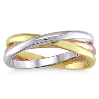 Miadora Men's 14k Tri-color White Yellow and Rose Gold Trinity Wedding Band