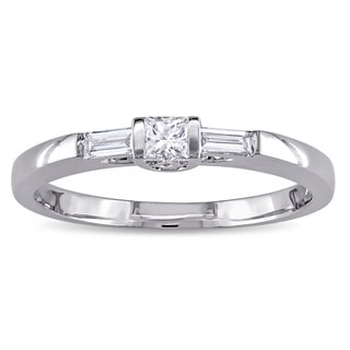 Miadora 10k White Gold 1/4ct TDW Princess and Parallel Baguette Diamond Bar Set Promise Ring