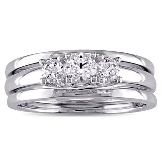 Miadora 10k White Gold Created White Sapphire 3-Stone Bridal Ring Set