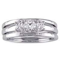 Miadora 10k White Gold Created White Sapphire 3-Stone Bridal Ring Set