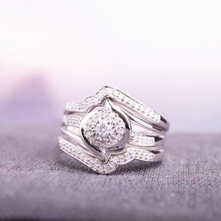 Miadora Sterling Silver 1/3ct TDW Diamond Bypass Halo Bridal Ring Set - White
