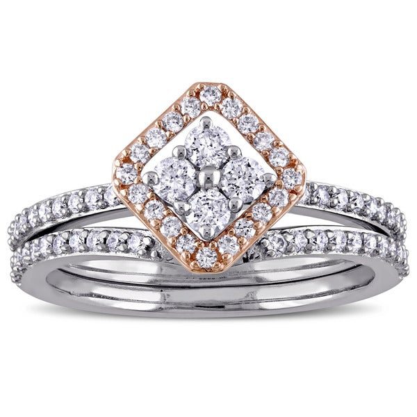 Miadora Signature Collection 14k 2-tone White and Rose Gold 5/8ct TDW Diamond Vintage Bridal Ring Set