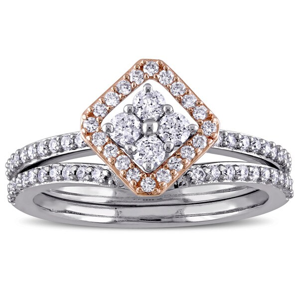Miadora Signature Collection 14k 2-Tone White and Rose Gold 5/8ct TDW Diamond Vintage Bridal Ring Se