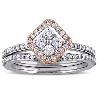 Miadora Signature Collection 14k 2-Tone White and Rose Gold 5/8ct TDW Diamond Vintage Bridal Ring Se