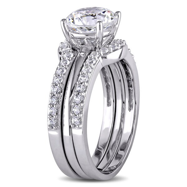 miadora 10k white gold created white sapphire bridal ring set free shipping today overstockcom 19194809 - White Sapphire Wedding Rings