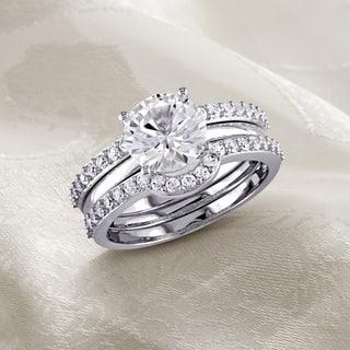 miadora 10k white gold created white sapphire bridal ring set - Gemstone Wedding Rings